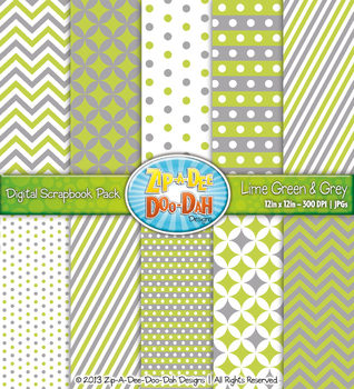 Chevron & Dot Digital Scrapbook Pack — Lime Green and Grey