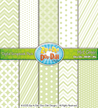 Chevron & Dot Digital Scrapbook Pack — Mint Green (10 Pages)