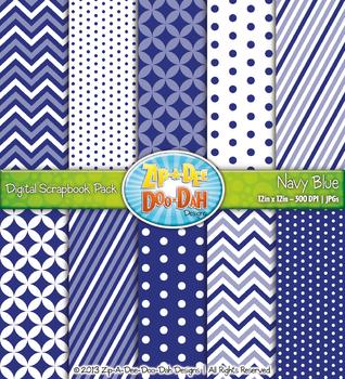 Chevron & Dot Digital Scrapbook Pack — Navy Blue (10 Pages)
