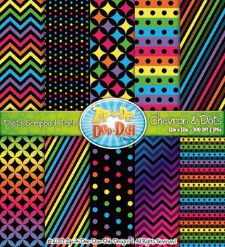 Chevron & Dot Digital Scrapbook Pack — Neon Rainbow (10 Pages)