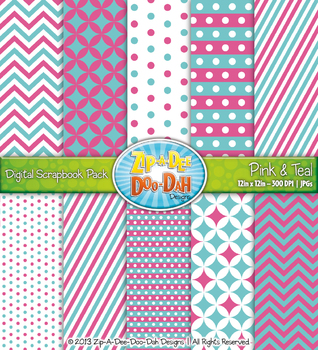 Chevron & Dot Digital Scrapbook Pack — Pink and Teal (10 Pages)