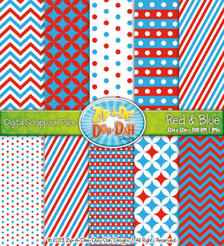 Chevron & Dot Digital Scrapbook Pack — Red and Blue (10 Pages)