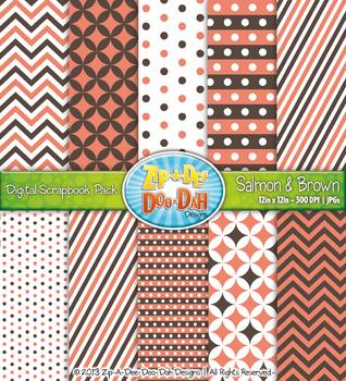 Chevron & Dot Digital Scrapbook Pack — Salmon and Brown (1