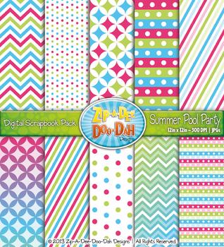 Chevron & Dot Digital Scrapbook Pack — Summer Pool Party (