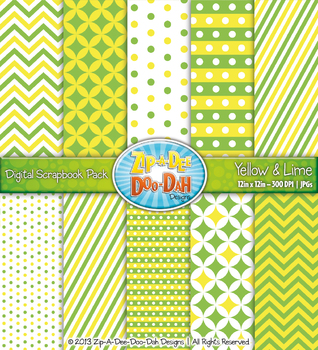 Chevron & Dot Digital Scrapbook Pack — Yellow and Lime Gre