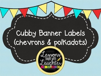 Chevron & Dots Banner Cubby Labels