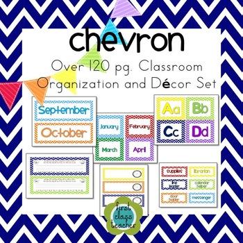 Chevron EDITABLE Classroom Organization and Decor Pack