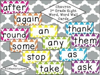 Chevron First Grade Sight Word / Word Wall Cards