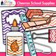 Back to School Supplies Clip Art {Chevron Notebook, Marker