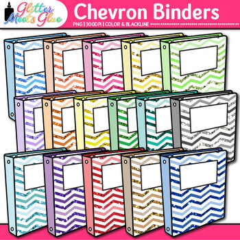 Chevron Binder Clip Art {Back to School Supplies for Works