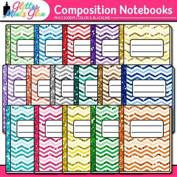 Chevron Composition Notebook Clip Art {Back to School Supp