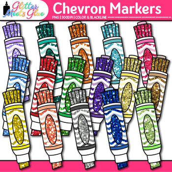 Chevron Markers Clip Art {Back to School Supplies for Work