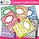 Chevron Pocket Folders Clip Art {Back to School Supplies f