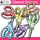 Chevron Scissor Clip Art {Rainbow Glitter Back to School S