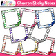 Chevron Sticky Notes Clip Art {Back to School Supplies for