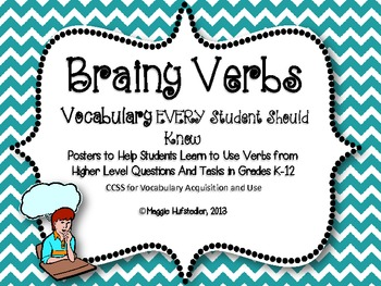 Chevron Higher Order Thinking Verbs Posters for 25 Words