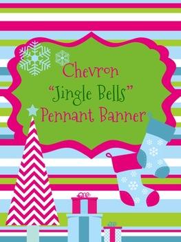 Christmas Chevron Jingle Bells *Pennant* Banner