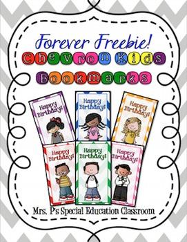 Chevron Kids Happy Birthday Bookmarks **FOREVER FREEBIE**