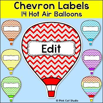 Chevron Labels - Hot Air Balloon