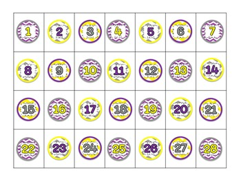 Chevron Lunch/Attendance Choices for 1 In Magnets purple y