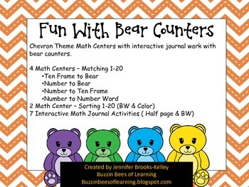 Chevron Math Center with Bear Counters with Interactive Jo