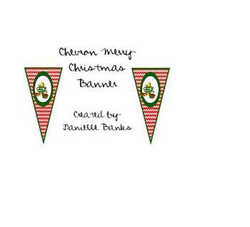 Chevron Merry Christmas Banner