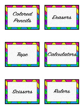 Neon Wave Label Set