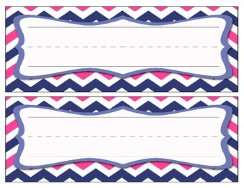 Chevron Name Cards - Blue/Pink