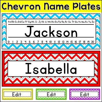 Chevron Theme Name Plates