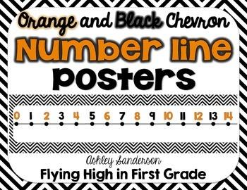 Chevron Number Line {orange and black}