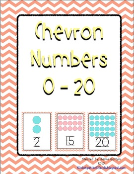 Chevron Number Posters 0 - 20 (Peach)