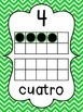 Chevron Number Posters in Spanish {0-20} With Number, Tens