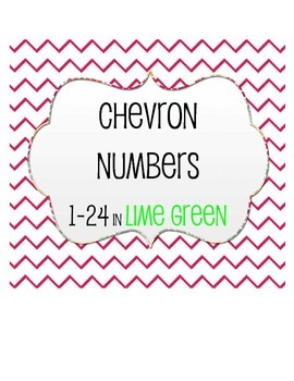Chevron Numbers in Lime Green