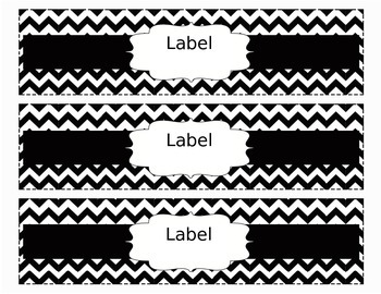 Chevron Organizing Drawer Labels Black & White - Editable