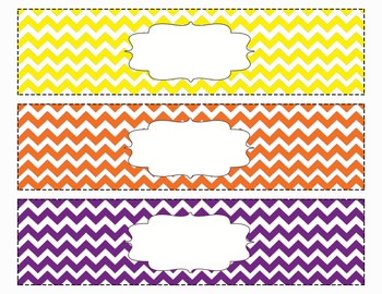 Chevron Organizing Drawer Labels Multi Color (Orange/Purpl