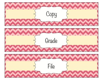 Chevron Organizing Drawer Labels - Pink - Editable