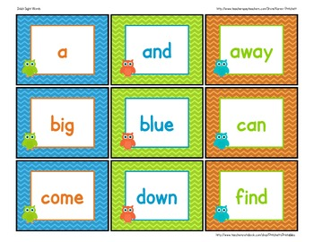 Chevron Owl Dolch sight word flashcards or word wall chevr