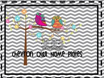 Chevron Owl Editable Name Plates