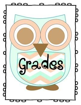 Chevron Owl Themed Grades Binder Cover