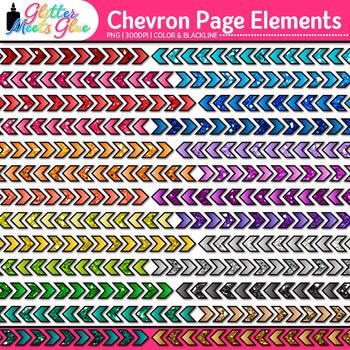 Chevron Page Dividers Clip Art {Rainbow Glitter Borders fo