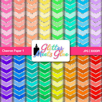 Rainbow Chevron Paper {Scrapbook Backgrounds for Task Card