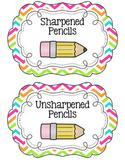 Chevron Pencil Bucket Labels