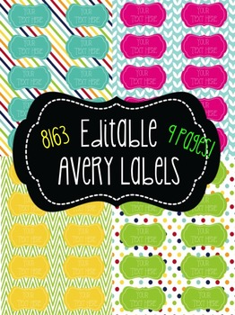 Chevron, Polka dot, & Stripes Editable  Labels! 10 per pag