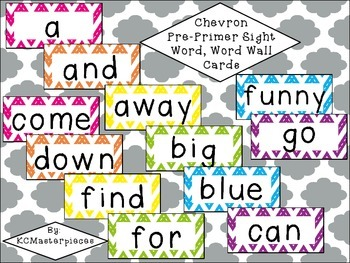 Chevron Pre-Primer Sight Word / Word Wall Cards