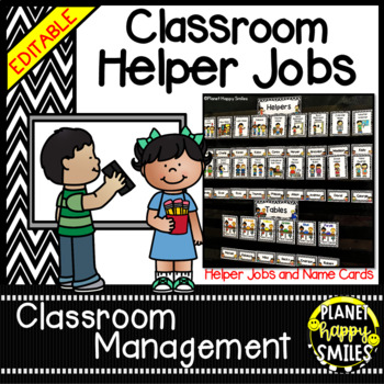 Classroom Helper Jobs (EDITABLE) ~ Chevron Print B/W