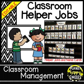 Classroom Helper Jobs (EDITABLE) ~ Chevron Print B/W