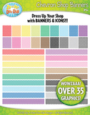 Chevron Rainbow Shop Banners and Icons Clip Art Set — Over