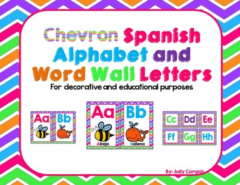 Chevron Spanish Alphabet Print, Cursive, With and Without