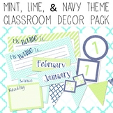 Chevron & Stripes EDITABLE Decor Pack - mint, green, & nav