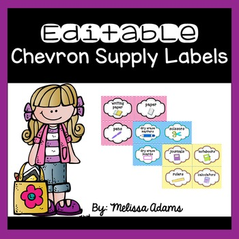 Colorful Chevron Supply Labels
